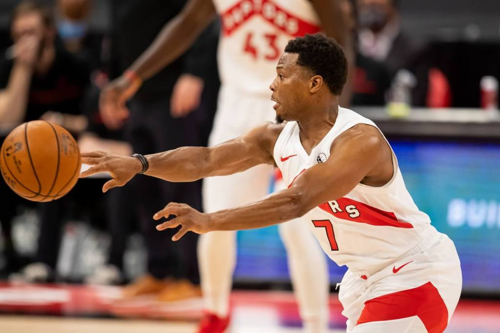 Jan 14, 2021; Tampa, Florida, USA; Toronto Raptors guard Kyle Lowry (7) passes during the first quarter of a game against the Charlotte Hornets at Amalie Arena. Mandatory Credit: Mary Holt-USA TODAY Sports