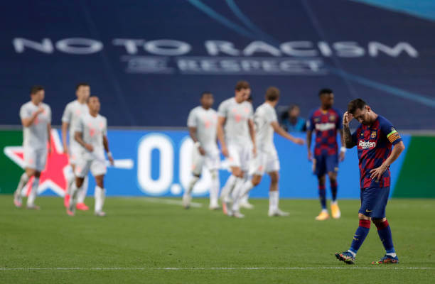 LISBON, PORTUGAL - AUGUST 14: Lionel Messi of FC Barcelona looks dejected after his team concede during the UEFA Champions League Quarter Final match between Barcelona and Bayern Munich