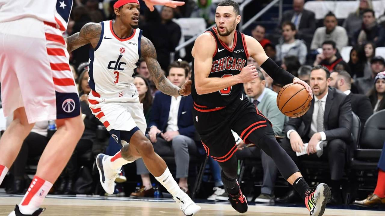 Dec 18, 2019; Washington, DC, USA; Chicago Bulls guard Zach LaVine (8) dribbles the ball against Washington Wizards guard Bradley Beal (3) during the first half at Capital One Arena. Mandatory Credit: Brad Mills-USA TODAY Sports