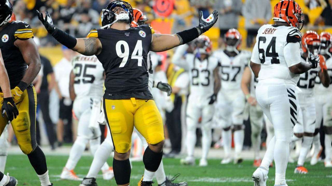 Pittsburgh Steelers defensive end Tyson Alualu (94) celebrates a sack against the Cincinnati Bengals during the fourth quarter at Heinz Field. The Steelers won 27-3.