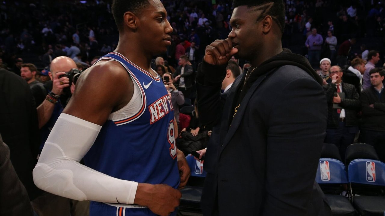 New York Knicks shooting guard RJ Barrett (9) and New Orleans Pelicans small forward Zion Williamson (1) talk after a game at Madison Square Garden.