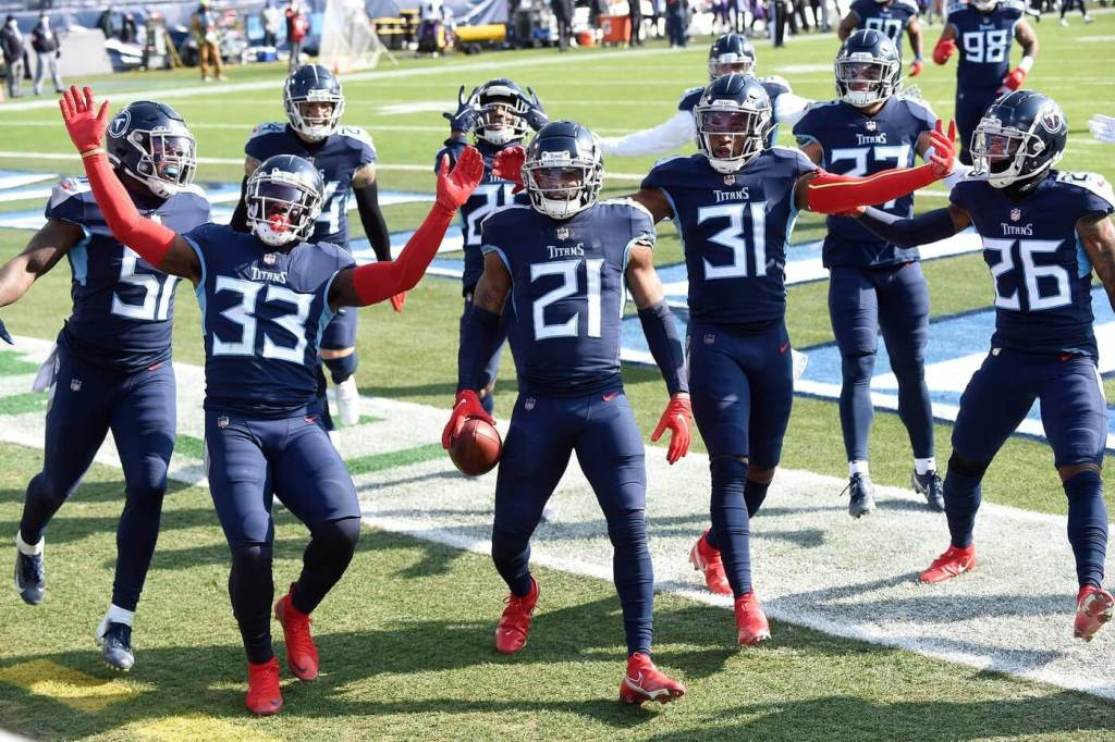 Tennessee Titans cornerback Malcolm Butler (21) and the team celebrate his interception in the first quarter during the Tennessee Titans game against the Baltimore Ravens in Nashville on January 10, 2021