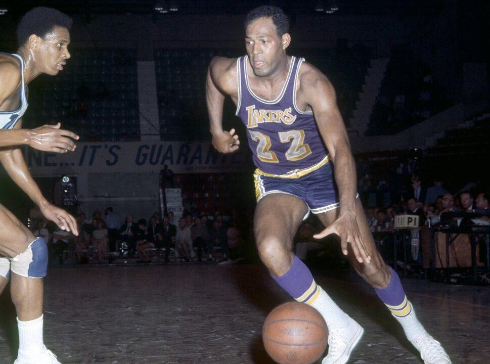 Los Angeles Lakers guard (22) Elgin Baylor in action against the Cincinnati Royals at Cincinnati Gardens.