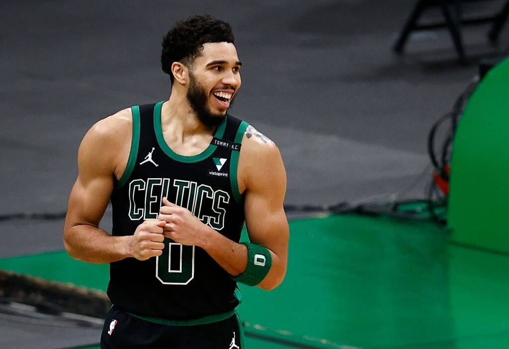 BOSTON, MASSACHUSETTS - FEBRUARY 28: Jayson Tatum #0 of the Boston Celtics reacts during the fourth quarter at TD Garden on February 28, 2021 in Boston, Massachusetts. The Celtics defeat the Wizards 111-110. (Photo by Maddie Meyer/Getty Images)