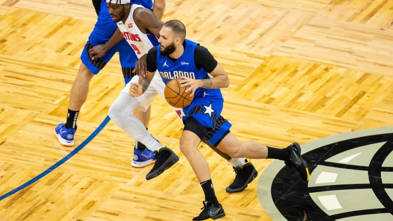 Feb 21, 2021; Orlando, Florida, USA; Orlando Magic guard Evan Fournier (10) drives to the basket during the second quarter of a game between the Orlando Magic and the Detroit Pistons at Amway Center. Mandatory Credit: Mary Holt-USA TODAY Sports
