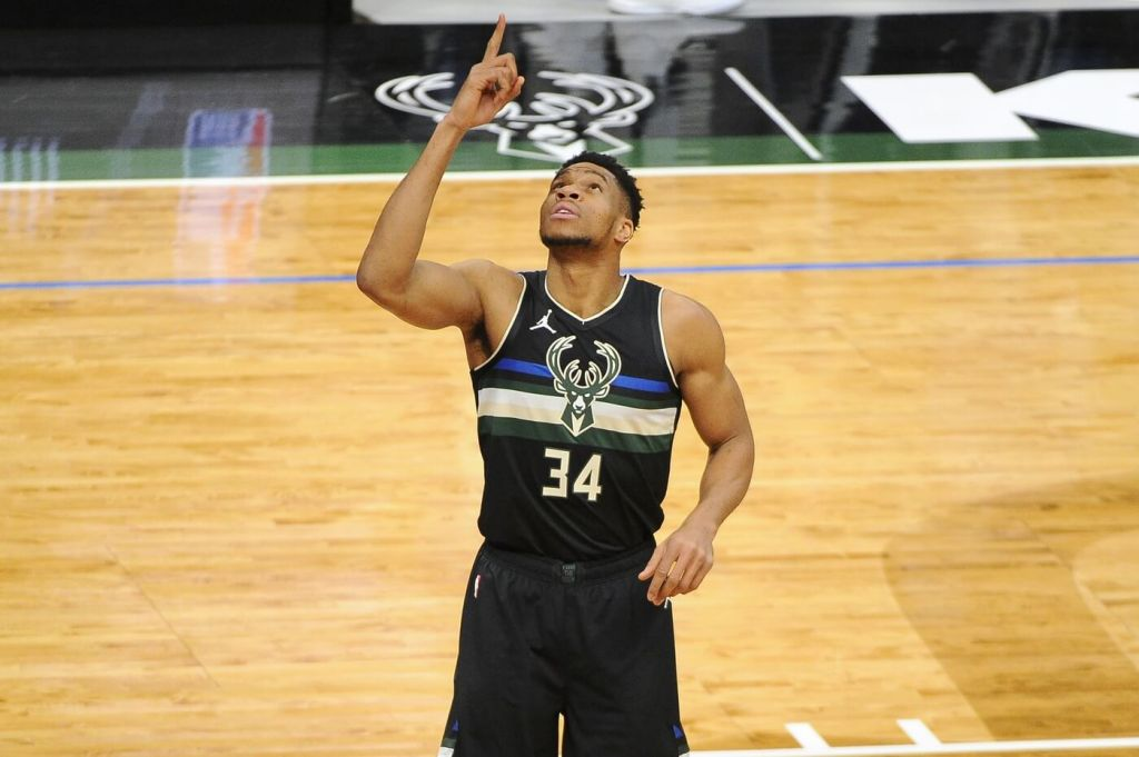 Feb 28, 2021; Milwaukee, Wisconsin, USA; Milwaukee Bucks forward Giannis Antetokounmpo (34) gestures before the start of the game against the LA Clippers at Fiserv Forum. Mandatory Credit: Michael McLoone-USA TODAY Sports