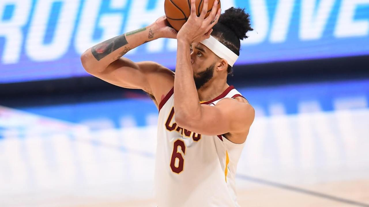 Feb 10, 2021; Denver, Colorado, USA; Cleveland Cavaliers center JaVale McGee (6) attempts a three-point basket in the third quarter against the Denver Nuggets at Ball Arena. Mandatory Credit: Ron Chenoy-USA TODAY Sports