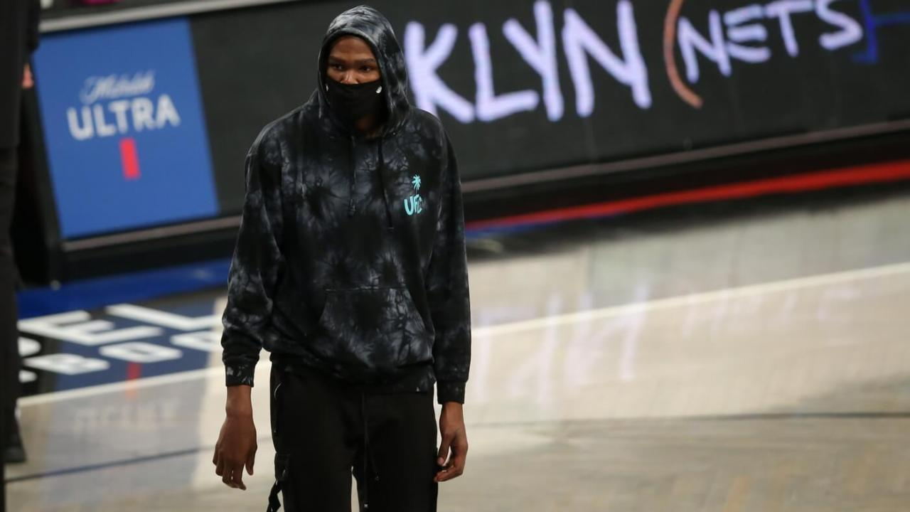 Mar 21, 2021; Brooklyn, New York, USA; Brooklyn Nets power forward Kevin Durant (7) walks onto the court during a time out during the fourth quarter against the Washington Wizards at Barclays Center. Mandatory Credit: Brad Penner-USA TODAY Sports