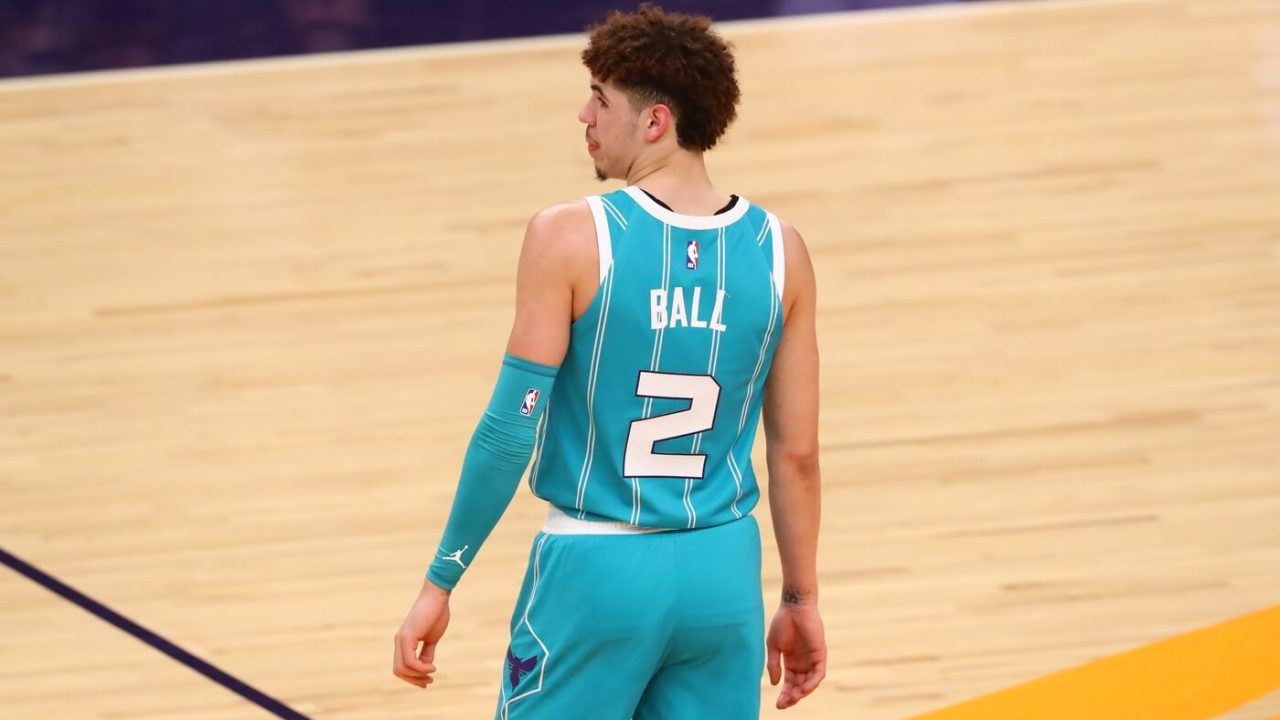 Feb 24, 2021; Phoenix, Arizona, USA; Detailed view of the jersey uniform of Charlotte Hornets guard LaMelo Ball (2) against the Phoenix Suns in the first half at Phoenix Suns Arena. Mandatory Credit: Mark J. Rebilas-USA TODAY Sports