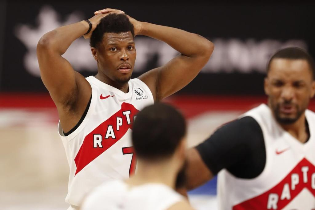 Mar 17, 2021; Detroit, Michigan, USA; Toronto Raptors guard Kyle Lowry (7) puts his hands on his head during the fourth quarter against the Detroit Pistons at Little Caesars Arena. Mandatory Credit: Raj Mehta-USA TODAY Sports