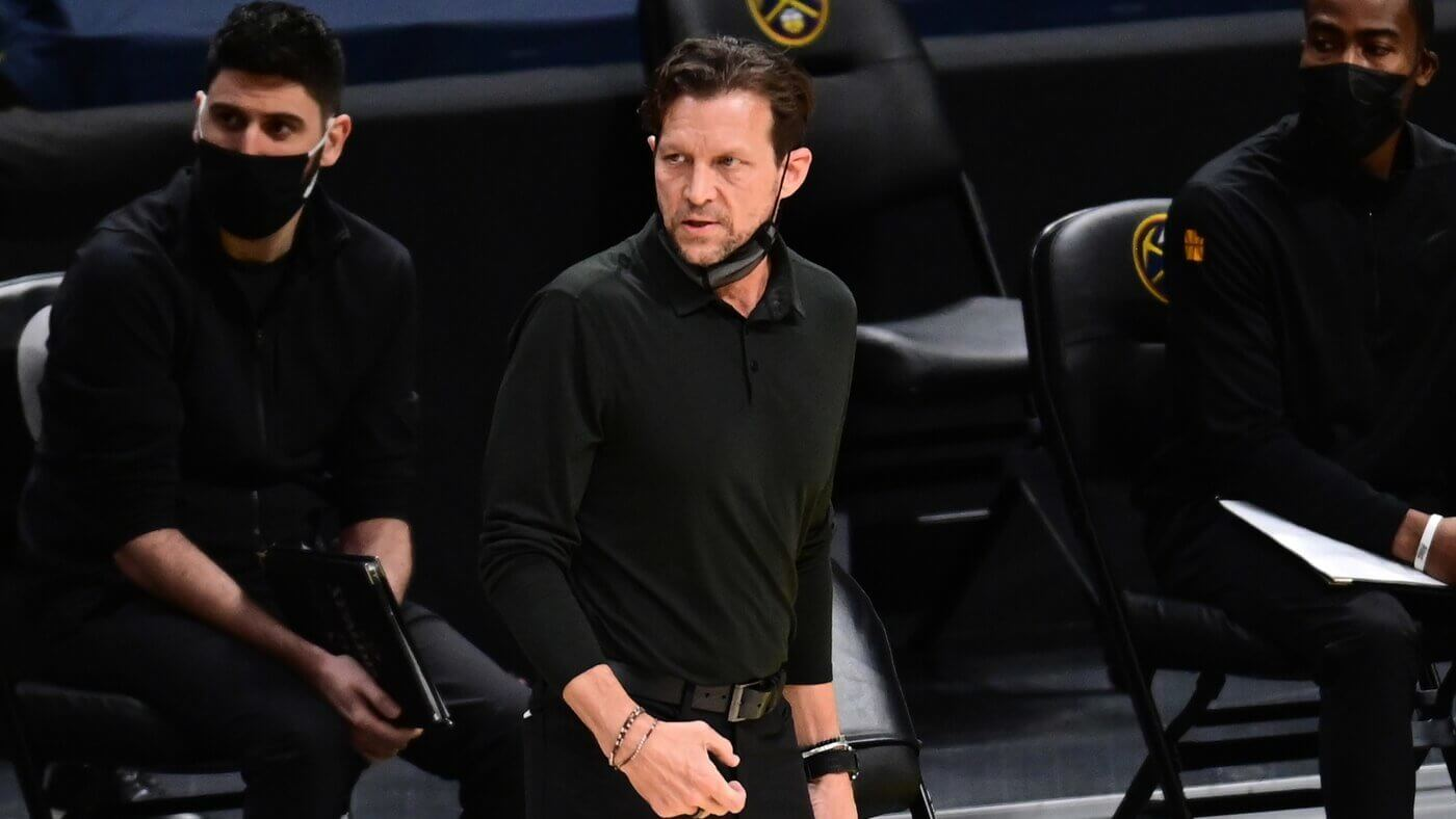 Jan 31, 2021; Denver, Colorado, USA; Utah Jazz head coach Quin Snyder watches from the sidelines during the first quarter against the Denver Nuggets at Ball Arena. Mandatory Credit: Ron Chenoy-USA TODAY Sports
