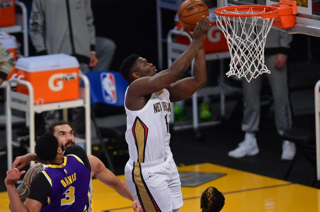 Jan 15, 2021; Los Angeles, California, USA; New Orleans Pelicans forward Zion Williamson (1) moves to the basket against the Los Angeles Lakers during the first half at Staples Center. Mandatory Credit: Gary A. Vasquez-USA TODAY Sports