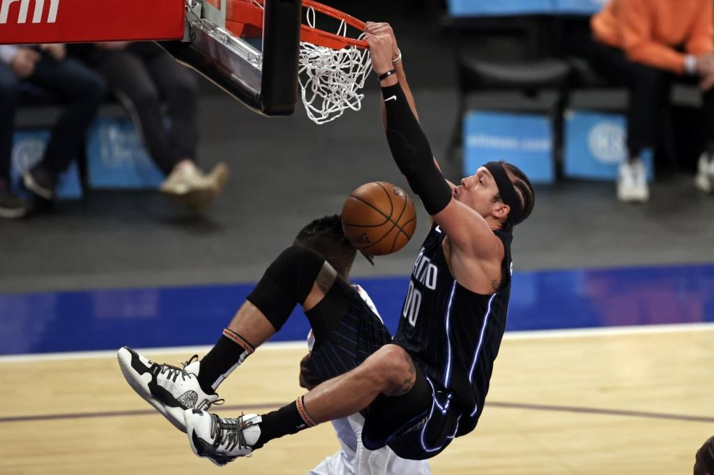 Mar 18, 2021; New York, New York, USA; Orlando Magic forward Aaron Gordon dunks the ball during the second half of an NBA basketball game against the New York Knicks on Thursday, March 18, 2021, in New York. Mandatory Credit: Adam Hunger/Pool Photo-USA TODAY Sports
