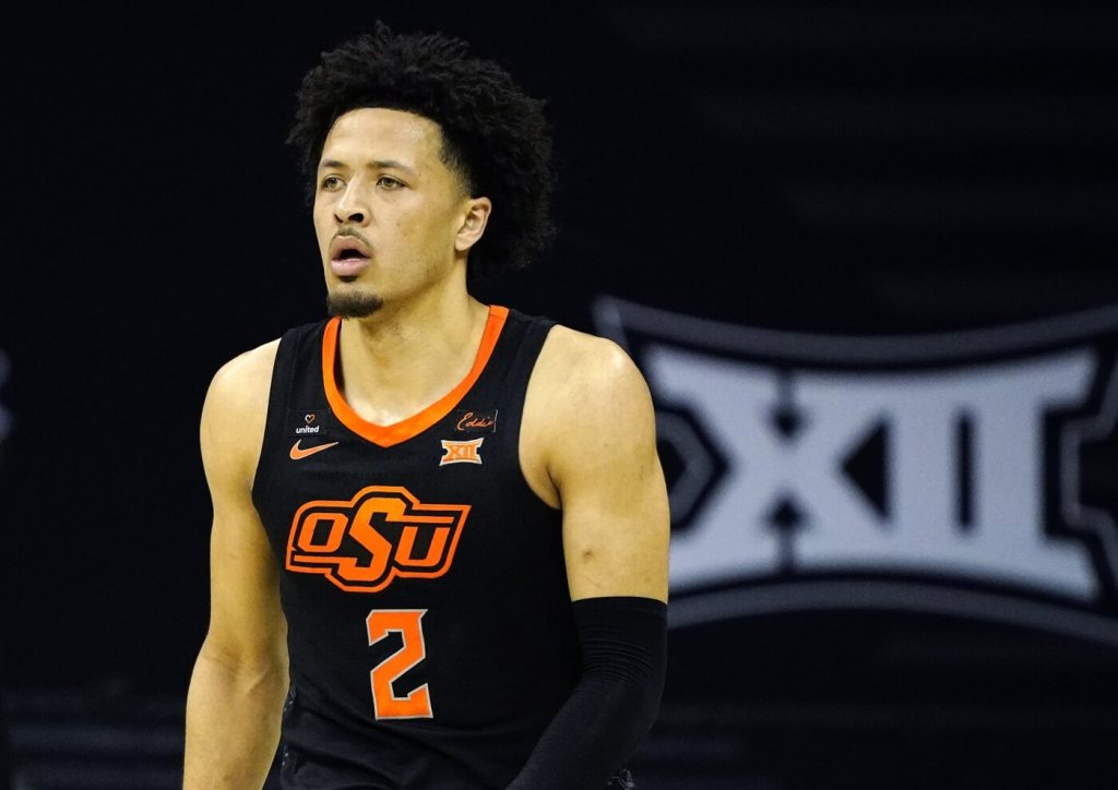 Mar 12, 2021; Kansas City, MO, USA; Oklahoma State Cowboys guard Cade Cunningham (2) takes the court against the Baylor Bears during the first half at T-Mobile Center. Mandatory Credit: Jay Biggerstaff-USA TODAY Sports