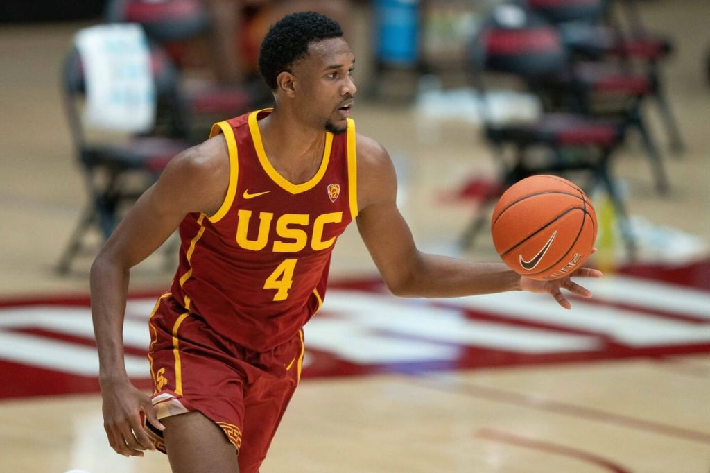 Feb 2, 2021; Stanford, California, United States; USC Trojans forward Evan Mobley (4) during the first half against the Stanford Cardinal at Maples Pavilion. Mandatory Credit: Stan Szeto-USA TODAY Sports