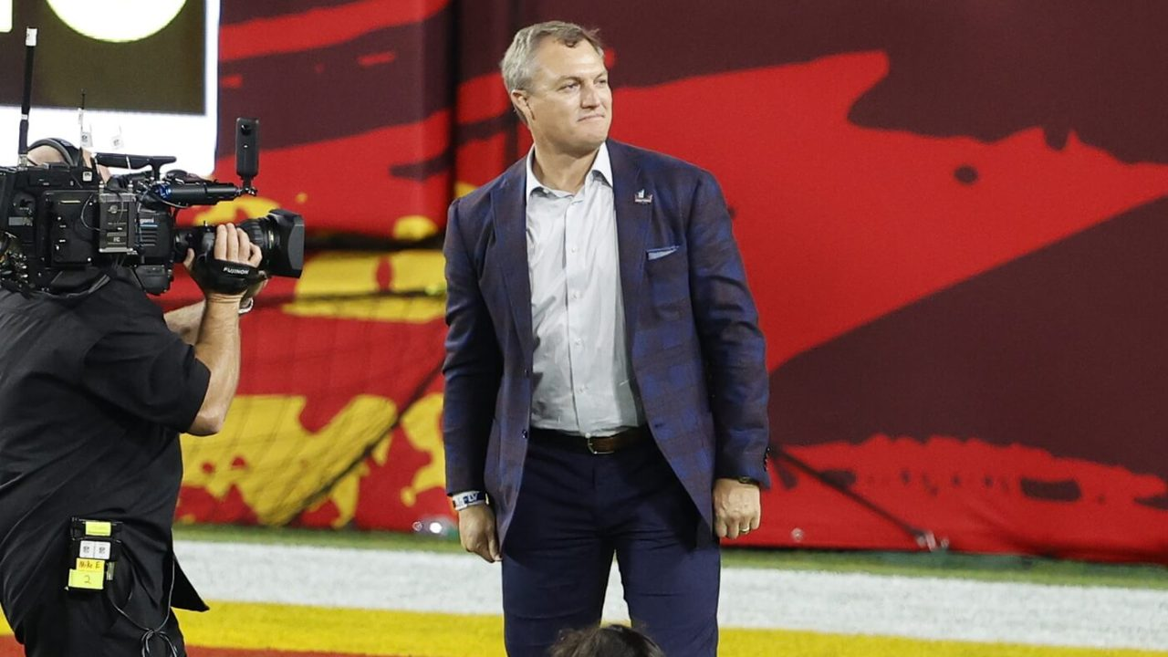 Feb 7, 2020; Tampa, FL, USA; NFL Hall of Fame inductee John Lynch is introduced during the first quarter of Super Bowl LV between the Kansas City Chiefs and the Tampa Bay Buccaneersat Raymond James Stadium. Mandatory Credit: Kim Klement-USA TODAY Sports