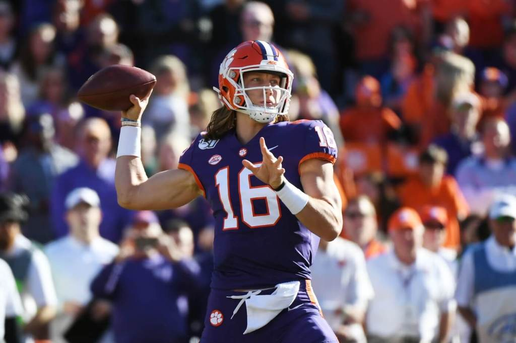 Nov 2, 2019; Clemson, SC, USA; Clemson Tigers quarterback Trevor Lawrence (16) throws against the Wofford Terriers during the first quarter at Clemson Memorial Stadium. Mandatory Credit: Adam Hagy-USA TODAY Sports