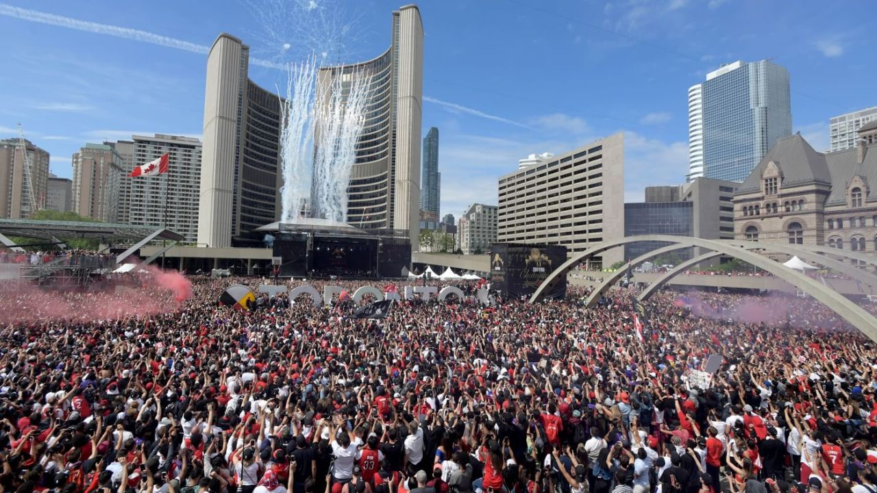 Jun 17, 2019; Toronto, Ontario, Canada; Toronto Raptors fans gather at Toronto city hall for a victory rally after a parade through downtown Toronto to celebrate their NBA title. Mandatory Credit: Dan Hamilton-USA TODAY Sports