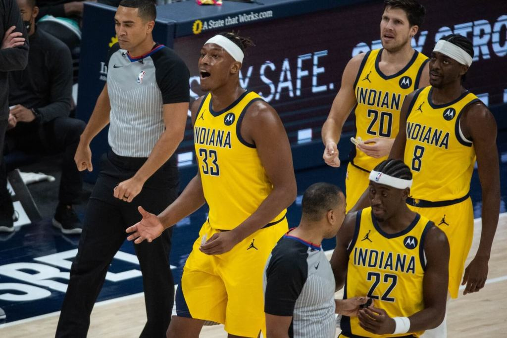 Apr 2, 2021; Indianapolis, Indiana, USA; Indiana Pacers center Myles Turner (33) argues a foul in the second quarter against the Charlotte Hornets at Bankers Life Fieldhouse. Mandatory Credit: Trevor Ruszkowski-USA TODAY Sports