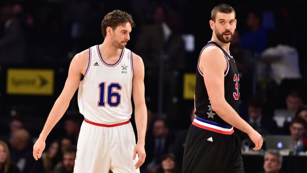 February 15, 2015; New York, NY, USA; Eastern Conference forward Pau Gasol of the Chicago Bulls (16) and Western Conference center Marc Gasol of the Memphis Grizzlies (33) during the second half of the 2015 NBA All-Star Game at Madison Square Garden. Mandatory Credit: Bob Donnan-USA TODAY Sports