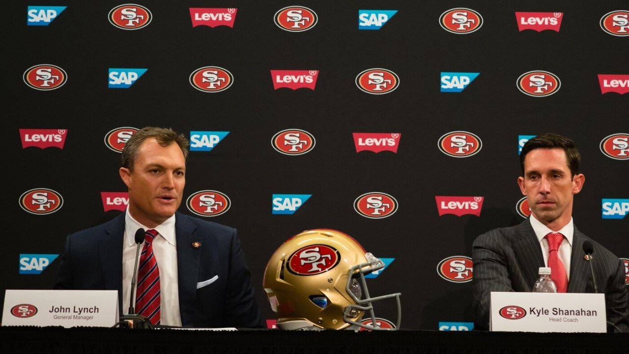 San Francisco 49ers general manager John Lynch and head coach Kyle Shanahan during a press conference at Levi's Stadium.