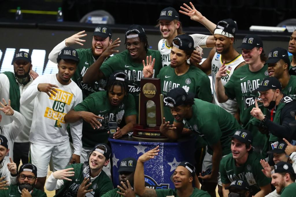 Mar 29, 2021; Indianapolis, Indiana, USA; Baylor Bears pose for a team photo after defeating the Arkansas Razorbacks to advance to the final four in the Elite Eight of the 2021 NCAA Tournament at Lucas Oil Stadium. Mandatory Credit: Mark J. Rebilas-USA TODAY Sports