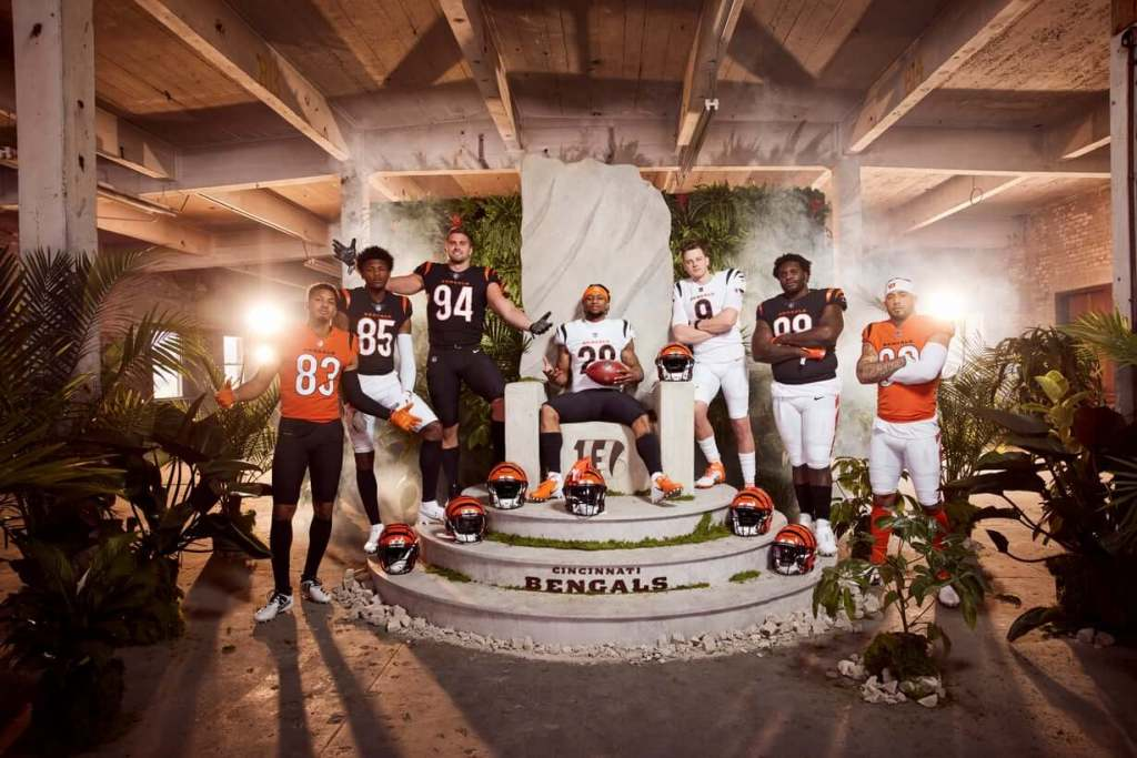 Multiple players from the Bengals show off the new threads in a photoshoot