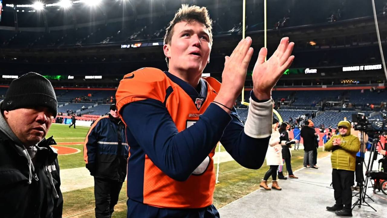 Denver Broncos quarterback Drew Lock (3) celebrates defeating the Oakland Raiders at Empower Field at Mile High. Mandatory Credit: Ron Chenoy