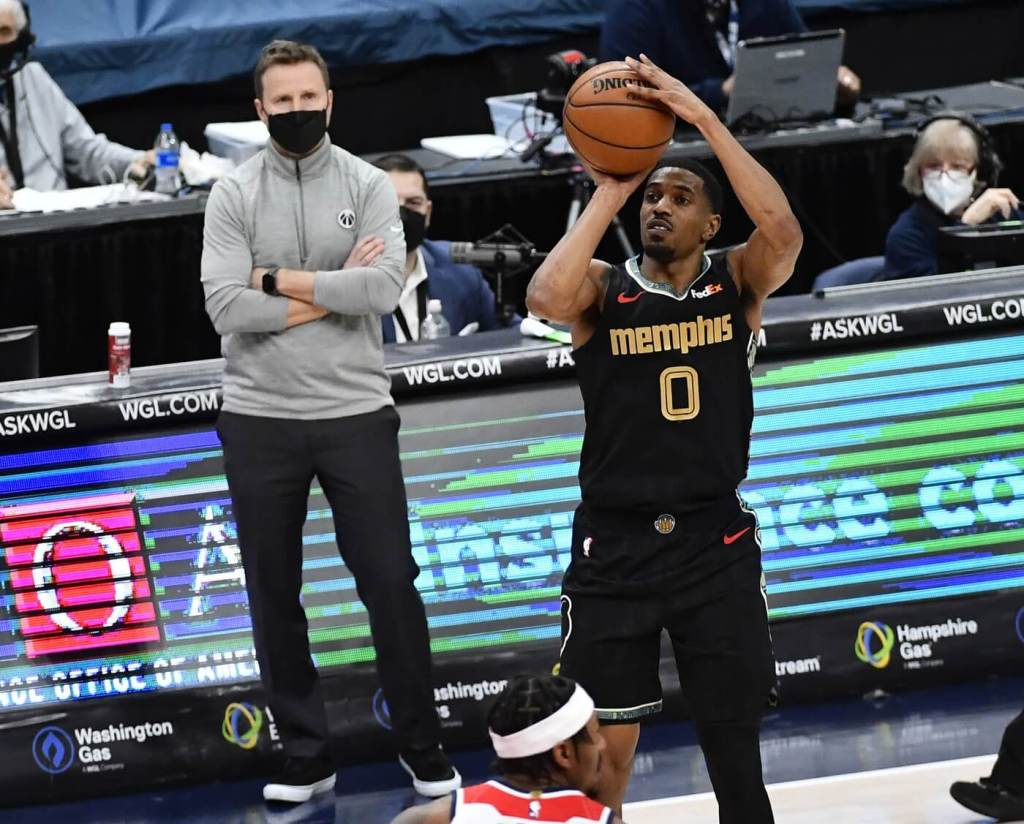 Mar 2, 2021; Washington, District of Columbia, USA; Memphis Grizzlies guard De'Anthony Melton (0) shoots the ball against the Washington Wizards during the second quarter at Capital One Arena. Mandatory Credit: Brad Mills-USA TODAY Sports