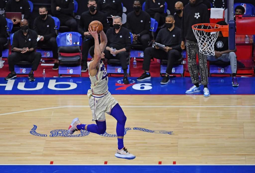 Apr 14, 2021; Philadelphia, Pennsylvania, USA; Philadelphia 76ers guard Ben Simmons (25) goes in for a slam dunk on a breakaway against the Brooklyn Nets during the third quarter at Wells Fargo Center. Mandatory Credit: Eric Hartline-USA TODAY Sports