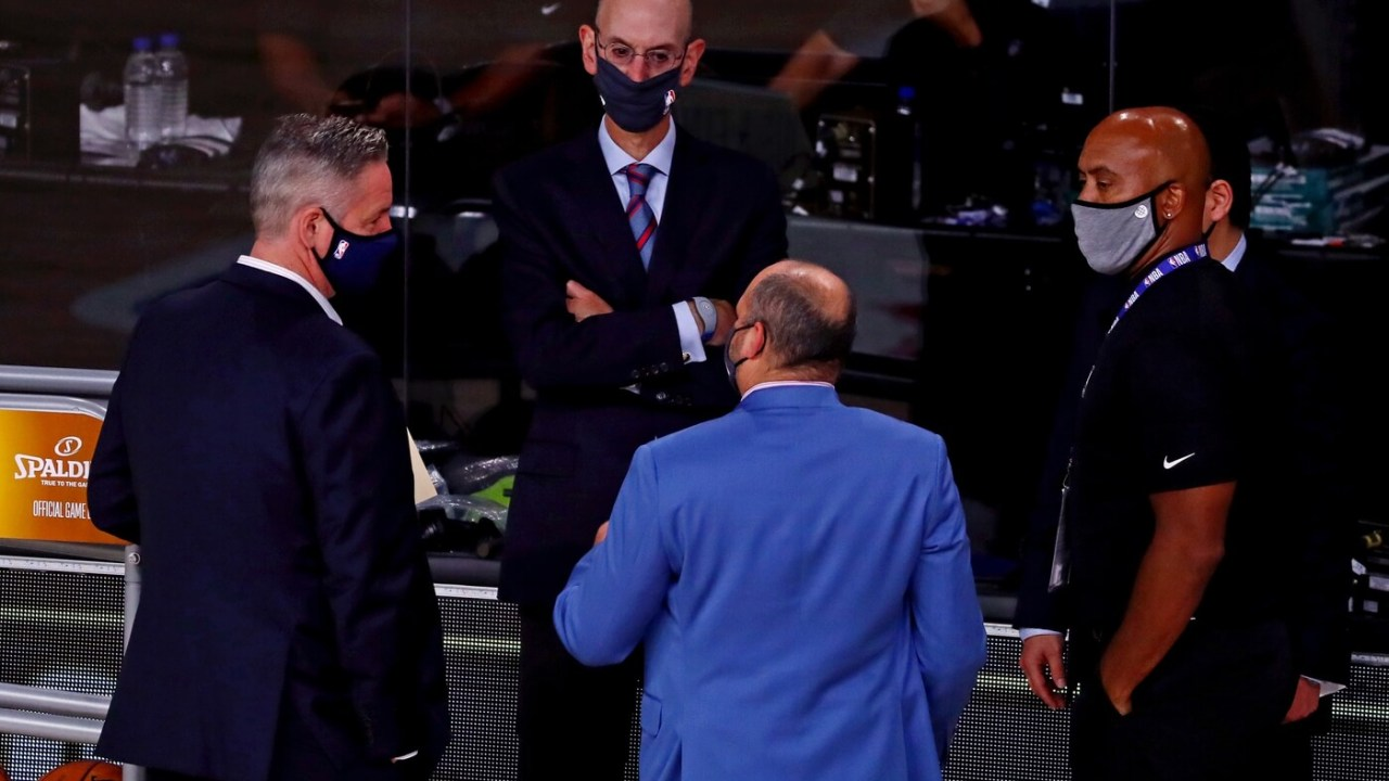 Oct 9, 2020; Lake Buena Vista, Florida, USA; NBA commissioner Adam Silver talks before game five of the 2020 NBA Finals between the Los Angeles Lakers and the Miami Heat at AdventHealth Arena. Mandatory Credit: Kim Klement-USA TODAY Sports