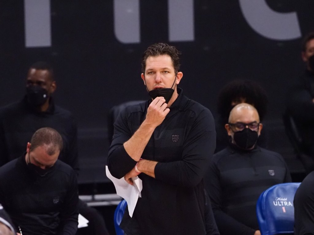 Apr 2, 2021; Sacramento, California, USA; Sacramento Kings head coach Luke Walton on the sideline during the fourth quarter against the Los Angeles Lakers at Golden 1 Center. Mandatory Credit: Kelley L Cox-USA TODAY Sports