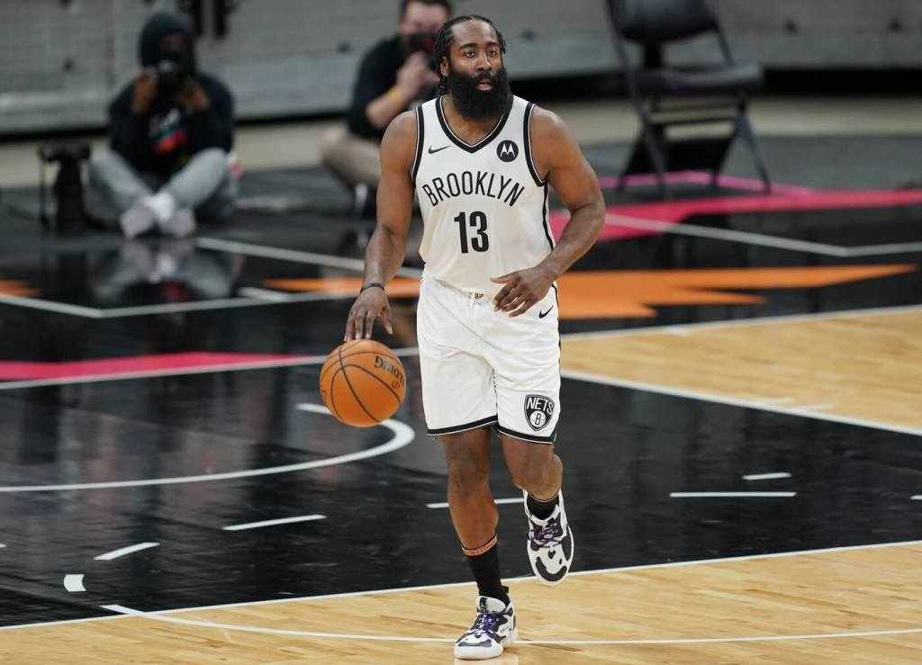 Mar 1, 2021; San Antonio, Texas, USA; Brooklyn Nets guard James Harden (13) dribbles in the second half against the San Antonio Spurs at the AT&T Center. Mandatory Credit: Daniel Dunn-USA TODAY Sports