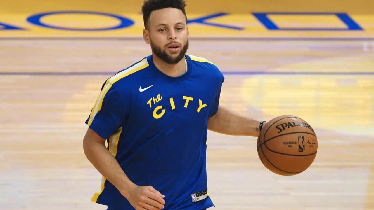 Mar 14, 2021; San Francisco, California, USA; Golden State Warriors guard Stephen Curry (30) warms up before the game against the Utah Jazz at Chase Center. Mandatory Credit: Kelley L Cox-USA TODAY Sports