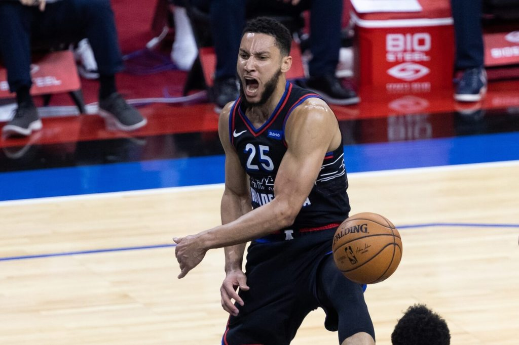 May 26, 2021; Philadelphia, Pennsylvania, USA; Philadelphia 76ers guard Ben Simmons (25) reacts after dunking the ball against the Washington Wizards during the first quarter of game two in the first round of the 2021 NBA Playoffs at Wells Fargo Center. Mandatory Credit: Bill Streicher-USA TODAY Sports