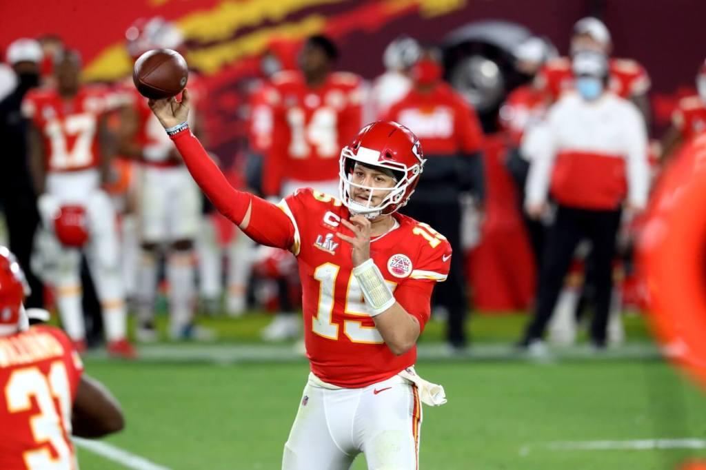 Feb 4, 2021; Tampa, FL, USA; Kansas City Chiefs quarterback Patrick Mahomes (15) against the Tampa Bay Buccaneers in Super Bowl LV at Raymond James Stadium. Mandatory Credit: Mark J. Rebilas-USA TODAY Sports