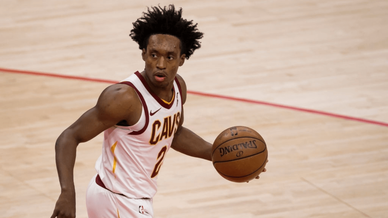 WASHINGTON, DC - MAY 14: Collin Sexton #2 of the Cleveland Cavaliers dribbles the ball during the first half of the game against the Washington Wizards at Capital One Arena on May 14, 2021 in Washington, DC. NOTE TO USER: User expressly acknowledges and agrees that, by downloading and or using this photograph, User is consenting to the terms and conditions of the Getty Images License Agreement. (Photo by Scott Taetsch/Getty Images)