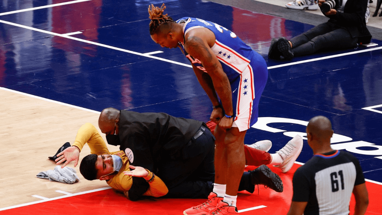 Fans runs onto court during game 4 between the Washington Wizards vs. Philadelphia 76ers, Monday May 31, 2021.