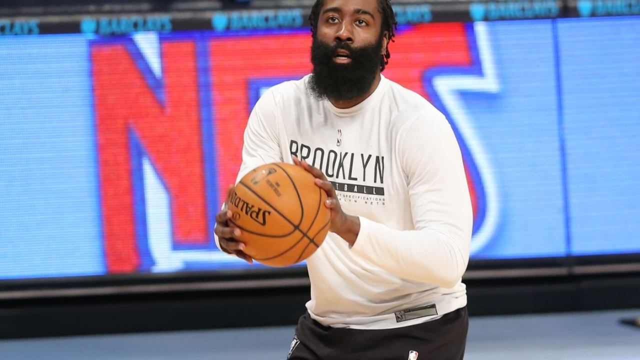 Mar 31, 2021; Brooklyn, New York, USA; Brooklyn Nets shooting guard James Harden (13) warms up before the game against the Houston Rockets at Barclays Center. Mandatory Credit: Brad Penner-USA TODAY Sports