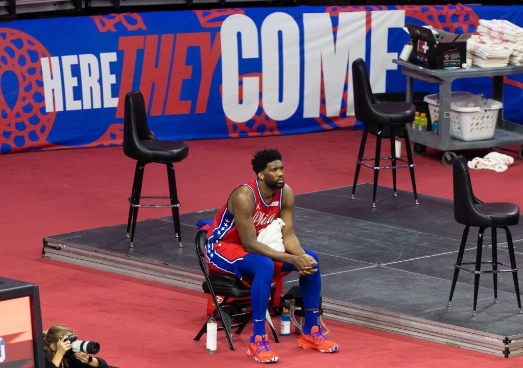 May 14, 2021; Philadelphia, Pennsylvania, USA; Philadelphia 76ers center Joel Embiid (21) looks on after being subbed out in the third quarter against the Orlando Magic at Wells Fargo Center. Mandatory Credit: Bill Streicher-USA TODAY Sports.
