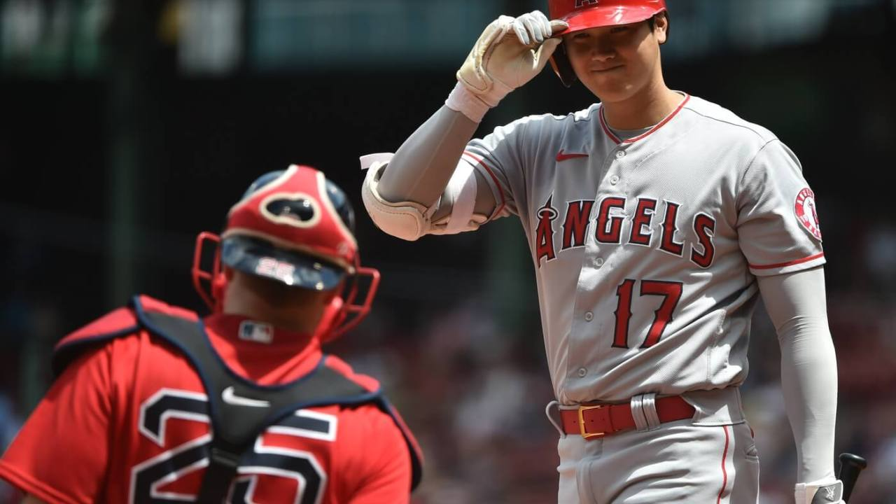 May 16, 2021; Boston, Massachusetts, USA; Los Angeles Angels designated hitter Shohei Ohtani (17) gets set to bat during the first inning agains the Boston Red Sox at Fenway Park. Mandatory Credit: Bob DeChiara-USA TODAY Sports