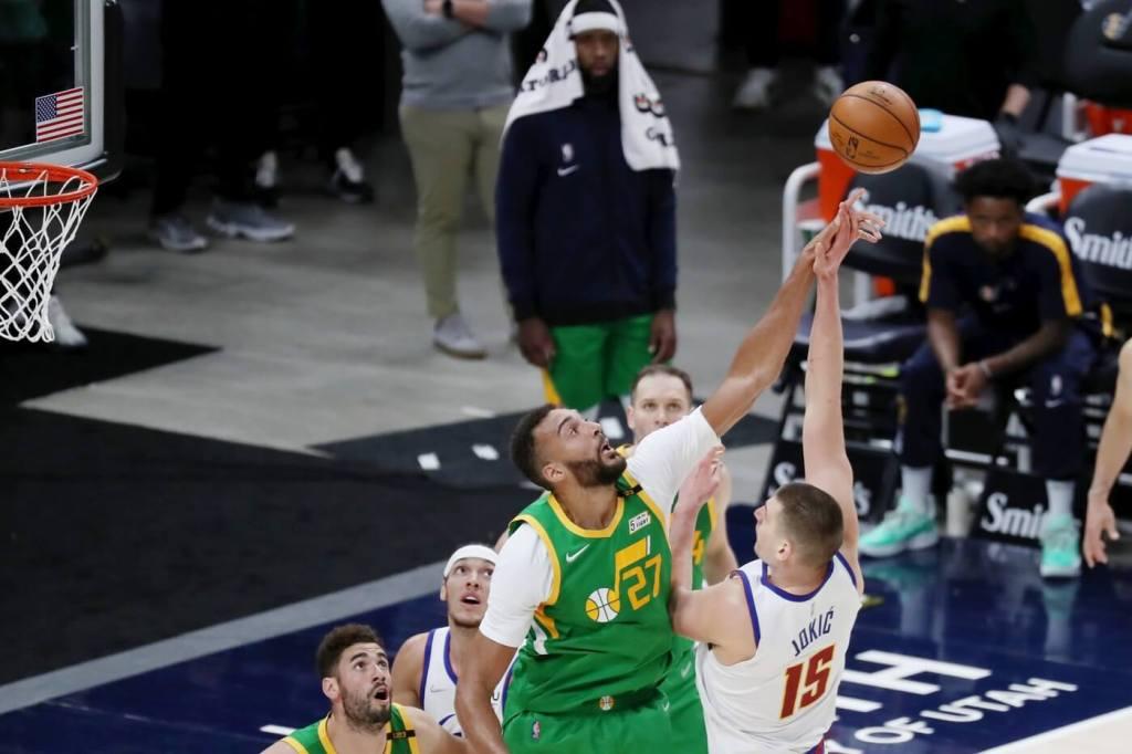 May 7, 2021; Salt Lake City, Utah, USA; Utah Jazz center Rudy Gobert (27) blocks the shot of Denver Nuggets center Nikola Jokic (15) in the fourth quarter at Vivint Arena. Mandatory Credit: Rob Gray-USA TODAY Sports