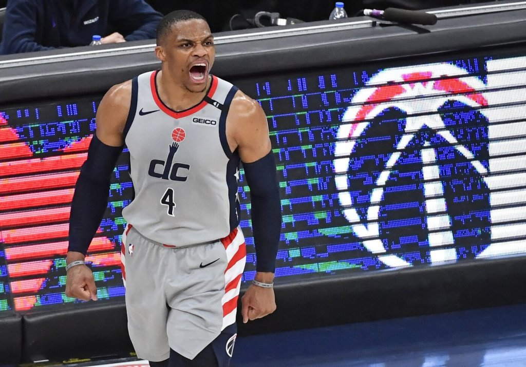 May 16, 2021; Washington, District of Columbia, USA; Washington Wizards guard Russell Westbrook (4) reacts against the Charlotte Hornets during the fourth quarter at Capital One Arena. Mandatory Credit: Brad Mills-USA TODAY Sports