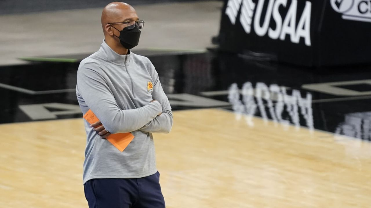May 15, 2021; San Antonio, Texas, USA; Phoenix Suns head coach Monty Williams in the second quarter of the game against the San Antonio Spurs at AT&T Center. Mandatory Credit: Scott Wachter-USA TODAY Sports