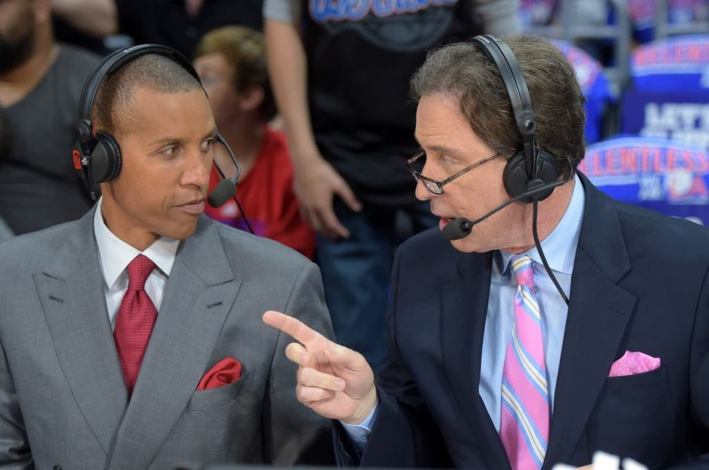 May 10, 2015; Los Angeles, CA, USA; TNT broadcasters Reggie Miller (left) and Kevin Harlan during game four of the second round of the NBA playoffs between the Houston Rockets and the Los Angeles Clippers at Staples Center. Mandatory Credit: Kirby Lee-USA TODAY Sports
