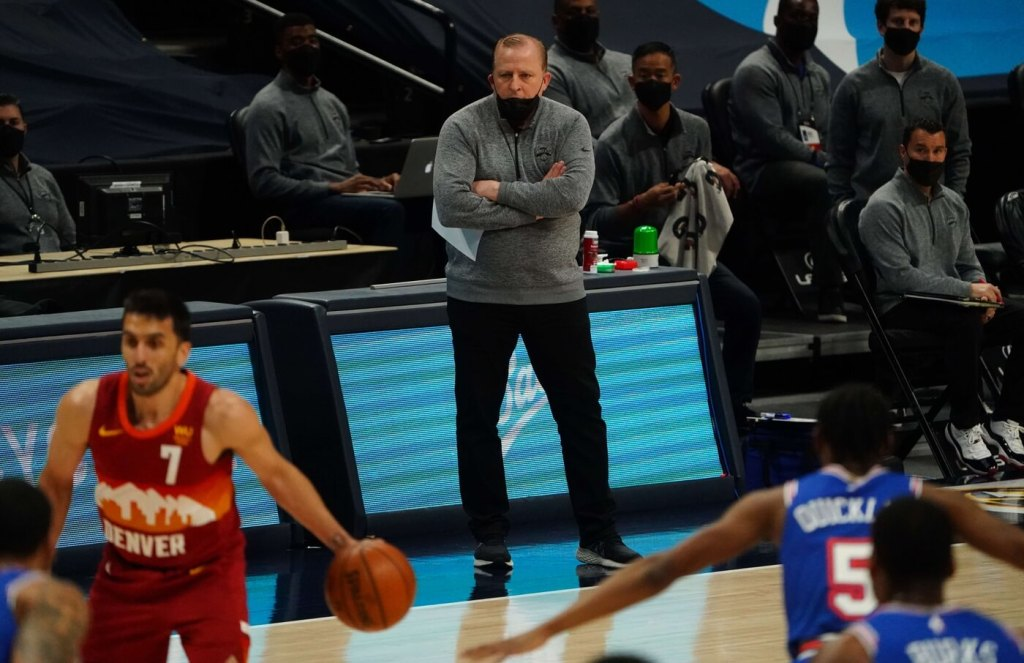May 5, 2021; Denver, Colorado, USA; New York Knicks head coach Tom Thibodeau during the second quarter against the Denver Nuggets at Ball Arena. Mandatory Credit: Ron Chenoy-USA TODAY Sports