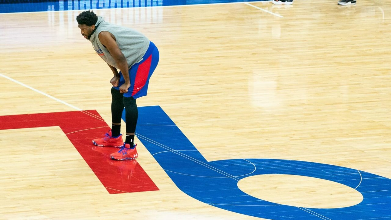 May 23, 2021; Philadelphia, Pennsylvania, USA; Philadelphia 76ers center Joel Embiid before game one in the first round of the 2021 NBA Playoffs against the Washington Wizards at Wells Fargo Center.