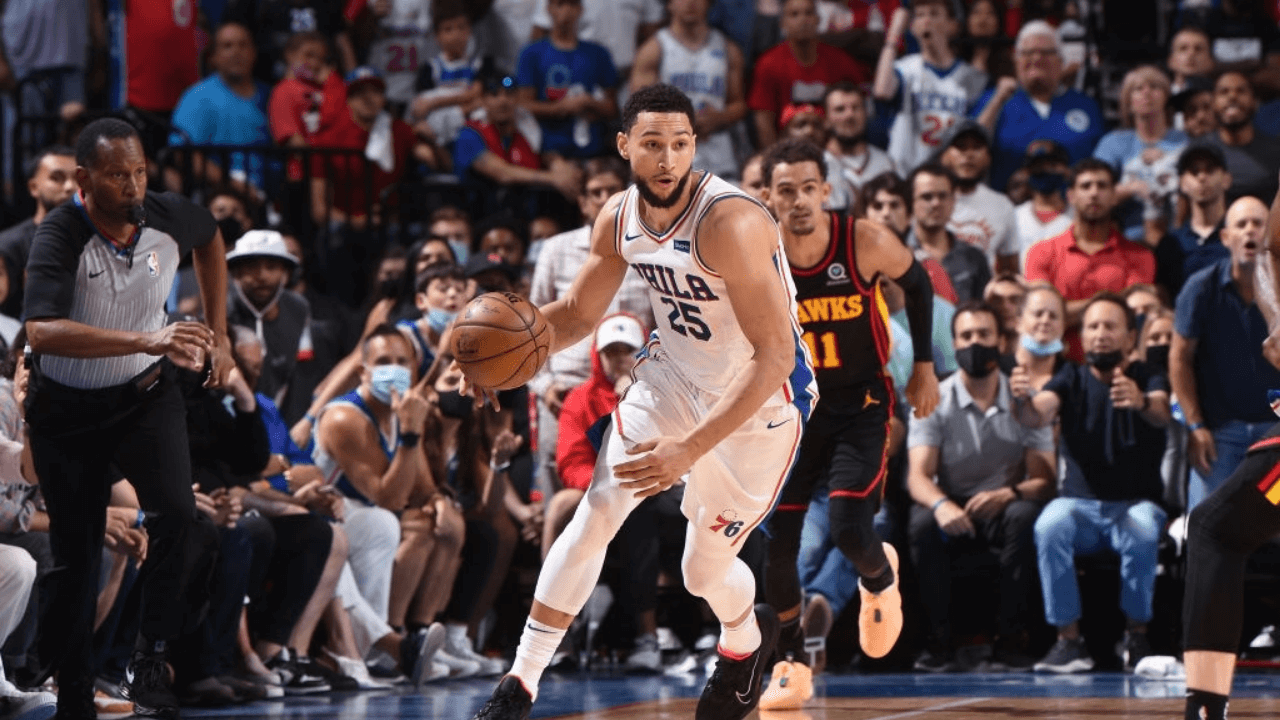 PHILADELPHIA, PA - JUNE 20: Ben Simmons #25 of the Philadelphia 76ers handles the ball against the Atlanta Hawks during Round 2, Game 7 of the Eastern Conference Playoffs on June 20, 2021 at Wells Fargo Center in Philadelphia, Pennsylvania. NOTE TO USER: User expressly acknowledges and agrees that, by downloading and/or using this Photograph, user is consenting to the terms and conditions of the Getty Images License Agreement. Mandatory Copyright Notice: Copyright 2021 NBAE (Photo by David Dow/NBAE via Getty Images)