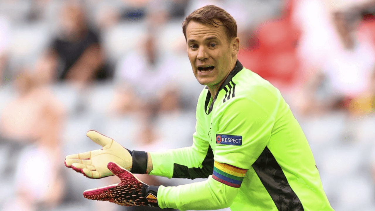 19 June 2021, Bavaria, Munich: Football: European Championship, Portugal - Germany, preliminary round, Group F, 2nd matchday in the EM Arena Munich. Germany's goalkeeper Manuel Neuer is annoyed after conceding a goal. Photo: Christian Charisius/dpa (Photo by Christian Charisius/picture alliance via Getty Images)