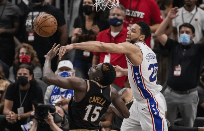 Jun 18, 2021; Atlanta, Georgia, USA; Philadelphia 76ers guard Ben Simmons (25) blocks a shot by Atlanta Hawks center Clint Capela (15) during the second half during game six in the second round of the 2021 NBA Playoffs. at State Farm Arena. Mandatory Credit: Dale Zanine-USA TODAY Sports
